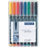 Staedtler Set of 8 colours in box, Line width M - medium ( 1.0 mm) Marker - Zwart, Transparant