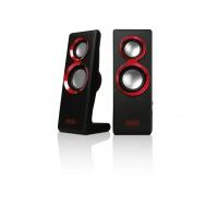 Sweex 2.0 Speaker Set Purephonic 20 Watt Red USB Speaker - Zwart, Rood