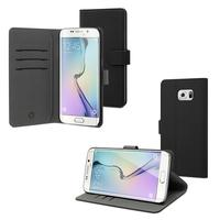 Muvit mobile phone case: Black Wallet Folio Case 3 Slots Samsung Galaxy S6 Edge Plus - Zwart