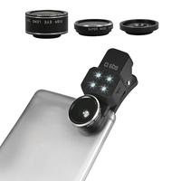 SBS : Lens kit (fish-eye, wide angle, macro, flash) with universal clip for smartphones - Zwart