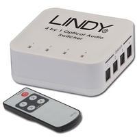 Lindy 4 Way TosLink Digital Optical Audio Switch audio converter - Zwart, Grijs
