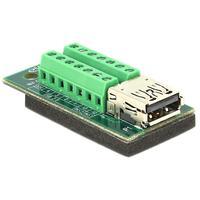DeLOCK kabel adapter: Adapter USB 3.0 / 3.1 PD A female > Terminal Block 14 pin - Zwart, Groen, Zilver