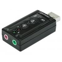 Manhattan geluidskaart: USB 2.0, Virtual 7.1, 3-D sound, 8.5g, Black