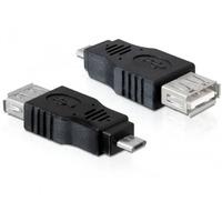 DeLOCK kabel adapter: USB micro-B/USB 2.0-A OTG - Zwart