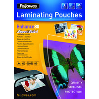 Fellowes laminatorhoes: SuperQuick 80 micron lamineerhoes glanzend A4 - Transparant