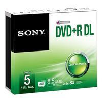 Sony 5 dubbellaagse dvd+r-schijven in slanke behuizing (5DPR85SS)