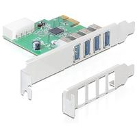 DeLOCK interfaceadapter: PCI-E - 4x USB 3.0 - Groen, Zilver