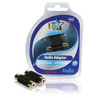 HQ kabel adapter: 2x RCA - 2x RCA F/F - Zwart