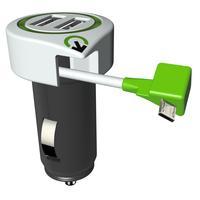 Q2-power oplader: 12—24V DC, 5V DC, 3.1 A - Groen, Wit