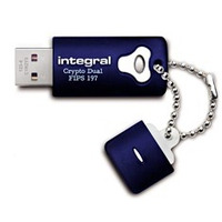 Integral USB flash drive: 32GB Crypto Dual FIPS 197 - Blauw