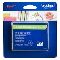 Brother labelprinter tape: TZe-MQG35 - 12 mm wit op lime groen - mat gelamineerd (5 m)