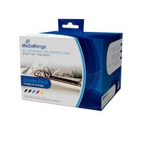 MediaRange inktcartridge: ink cartridges, for Epson® T1281 - T1284 series, with chip, Set 5 - Zwart, Cyaan, Magenta, .....