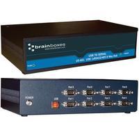 Brainboxes hub: 8 Port RS422/485 USB to Serial Multi Drop Hub - Zwart