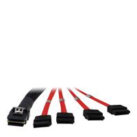 Inter-Tech SFF 8087 - 4 x SATA 1m Kabel - Zwart