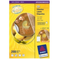 Avery Full size CDten, inlegkaarten Laser/inkjet, L6043, wit, classic (verpakking 200 stuks) Etiket - Transparant