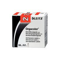Leitz etiket: Orgacolor - Rood