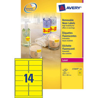 Avery 99.1 x 38.1 mm, 1400 pcs, neon geel Etiket