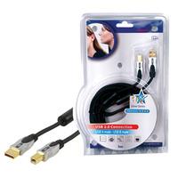 HQ USB kabel: 5m USB 2.0 A/B - Zwart