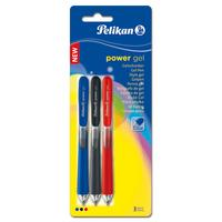 Pelikan gelpen: Power Gel pen Blister assort - Zwart, Blauw, Rood, Transparant
