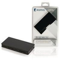 König hub: 3-poorts powered USB 2.0-hub en geheugenkaartlezer - Zwart