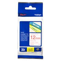 Brother labelprinter tape: 12 mm rood op witte tape gelamineerd (8 m)