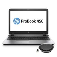 HP laptop: ProBook 450 G3 + speakerphone (W4P30ET + K7V16AA)  - Zilver