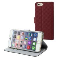 Muvit mobile phone case: Wallet Case with 2 Cardslots for Apple iPhone 6 - Red/Light Grey - Grijs, Rood