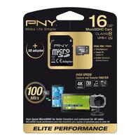 PNY flashgeheugen: 16GB MicroSD - Zwart, Wit