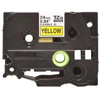 Brother labelprinter tape: TZe-FX651 - 24 mm zwart op gele flexi ID tape gelamineerd (8 m)