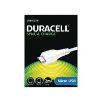 Duracell USB kabel: Sync/Charge Cable 2 Metre White - Wit