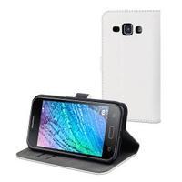 Muvit mobile phone case: White Slim S Folio Case f/ Galaxy J1 - Wit