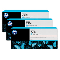 HP inktcartridge: 771C licht-cyaan DesignJet inktcartridges, 775 ml, 3-pack - Lichtyaan