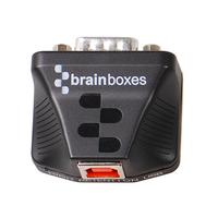 Brainboxes Ultra 1 Port RS232 USB to Serial Adapter, Black Kabel adapter - Zwart