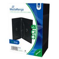 MediaRange : DVD Case for 4 discs, 14mm, black, Pack 5 - Zwart