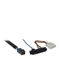 Inter-Tech 0.5m SFF 8643/4xSFF 8482+SATA Kabel - Zwart, Blauw