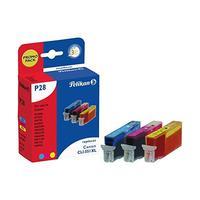 Pelikan inktcartridge: P28 CMY - Cyaan, Magenta, Geel
