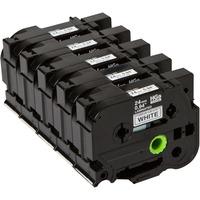 Brother labelprinter tape: 24 mm zwart op witte tape gelamineerd high grade (8 m) - 5 pack (5x HGe-251)