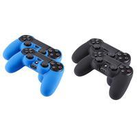Bigben Interactive : 2 officiële PS4 action grips voor DualShock 4 controller - Zwart, Blauw