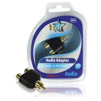 HQ kabel adapter: RCA - 2x RCA M/F - Zwart