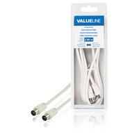 Valueline Coax antennekabel, coax mannelijk - coax mannelijk, 2.00 m, wit Coax kabel