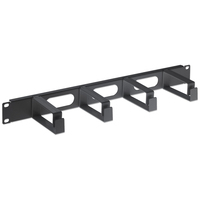 "Intellinet 19"" Cable Management Panel, 1U, 4 long plastic rings, Black Rack toebehoren - Zwart"