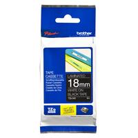 Brother labelprinter tape: TZe-345 - 18 mm wit op zwarte tape gelamineerd (8 m)