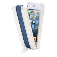 Canyon mobile phone case: iPhone 5 lederen hoes wit / blauw - Blauw, Wit