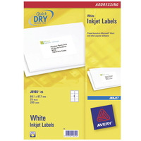 Avery Adresetiketten, Inkjet, Wit, 200pcs. Adreslabel