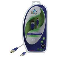 HQ HDMI kabel: 1.5m HDMI/Micro HDMI - Blauw, Grijs