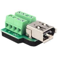 DeLOCK kabel adapter: Adapter FireWire A 6 pin female > Terminal block 8 pin - Zwart, Groen, Zilver