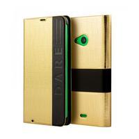 Mozo mobile phone case: Lumia 535 wallet T-bar phone case - Zwart, Goud