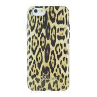GUESS mobile phone case: iPhone 6s en iPhone 6 back cover met luipaard print - Bruin, Geel