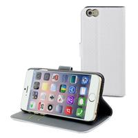 Muvit mobile phone case: Wallet Case with 2 Cardslots for Apple iPhone 6 - White/Dark Grey - Grijs, Wit