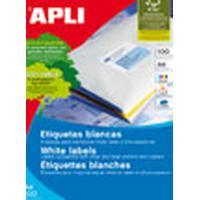 APLI f / inkjet / laser / photocopiers, 105 x 29, 2000 units, 100 sheets A4, White Etiket - Wit